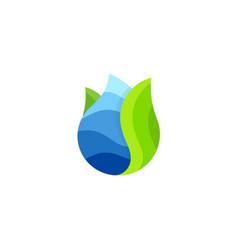 Drop logo water abstract icon sea wave vector