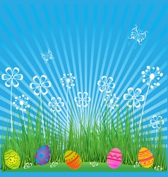 Easter background with cute eggs flowers and vector