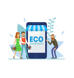 eco shopping people ordering food online vector image