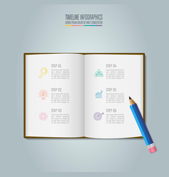 Education infographics template 6 step option vector