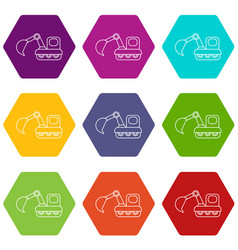 Excavator icons set 9 vector