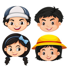 faces of boys and girls vector image vector image