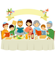 family on passover eve vector image