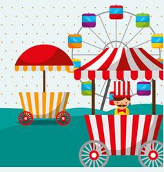 Ferris wheel booth food sellerman carnival fun vector