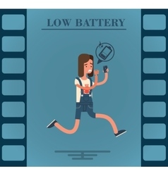 Flat character of a girl with low battery vector