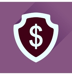 Flat icon with long shadow money shield vector image