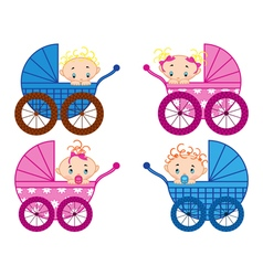 Four strollers with baby-boys and baby-girls vector image