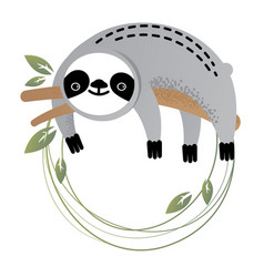 frame of a cute sloth vector image