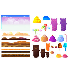 Game sweets pieces candyland elements vector