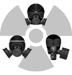gas masks and radiation sign vector image
