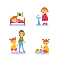 Girl sleeping washing playing walking with mom vector