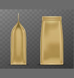 golden doy pack pouch paper or foil bag mockup vector image