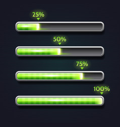 Green progress bar loading template for app vector