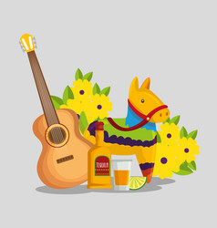 Guitar with tequila and donkey to day of the dead vector