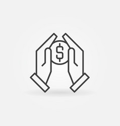 hands holding coin icon in thin line style vector image