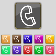 handset icon sign Set with eleven colored buttons vector image