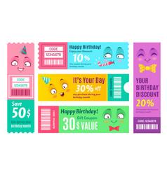 Happy birthday promo voucher anniversary coupon vector