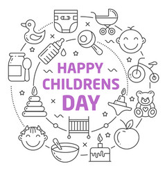 happy childrens day linear vector image