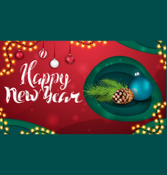 happy new year greeting red card in paper cut vector image