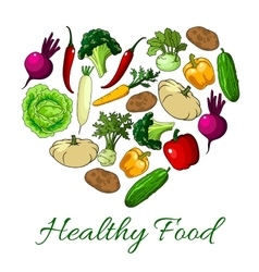 Healthy food heart poster of vegetables vector