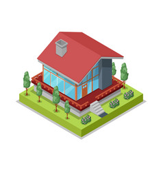 House landscape design isometric 3d icon vector