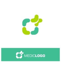 Isolated green and turquoise medical logo vector image