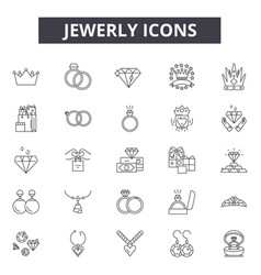 Jewerly line icons signs set outline vector