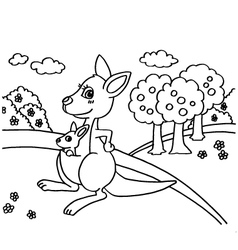 Kangaroo coloring pages vector