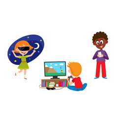 kid with technology set - children with mobile vector image
