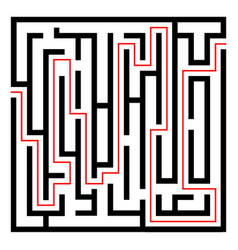 labyrinth black icon with red entry and exitvect vector image
