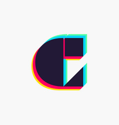 Letter c logo with stereo effect vector