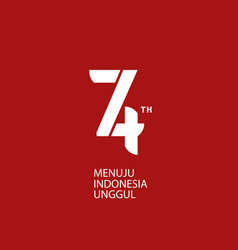 Logo 74th indonesia independence day red bg vector