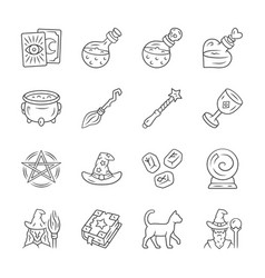 Magic linear icons set witchcraft items occult vector