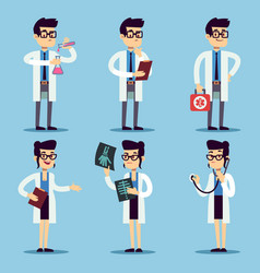 male and female young doctors set vector image