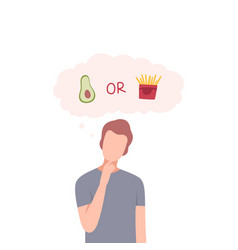 Man trying to make decision avocado or french vector