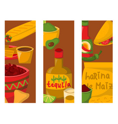 mexican traditional food cards with meat avocado vector image