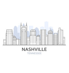 nashville city skyline tennessee - cityscape of vector image