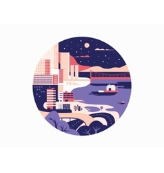 Night megapolis flat design vector