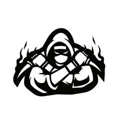 ninja logo white and black version vector image