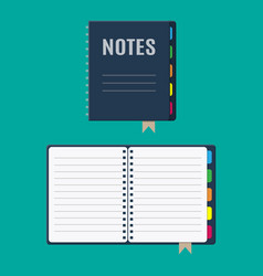 notepad and paper sheets with bookmarks vector image