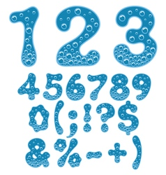 Numbers and symbols of sparkling water vector
