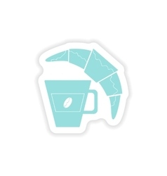 Paper sticker on white background coffee cup vector