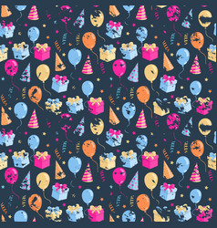 party seamless pattern with ballonsgift boxhat vector image