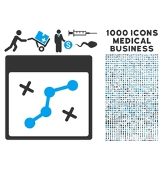 Path points calendar page icon with 1000 medical vector