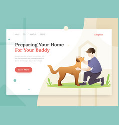 pet adoption landing page concept vector image