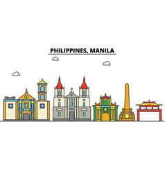 Philippines manila city skyline architecture vector