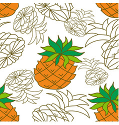 pineapple fruit pattern seamless template vector image