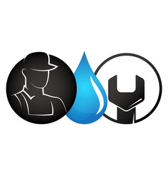 plumber and wrench symbol vector image