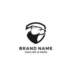 polar bear shield logo template icon vector image