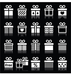 Present gift box white icons on black vector image